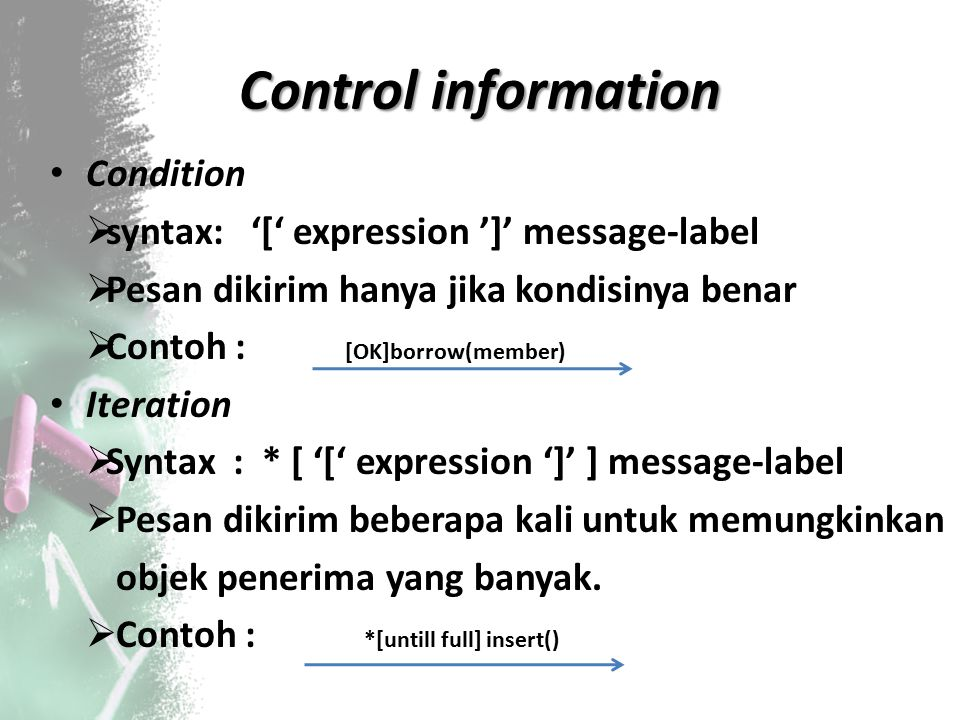 Control information Condition syntax: '[' expression ']' message‐label